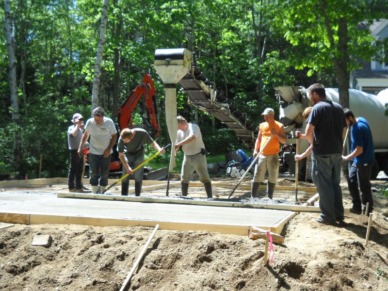 American Dream Builders pours the concrete for this 26X 30 Garage